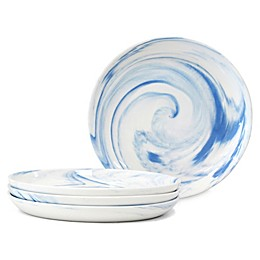 Artisanal Kitchen Supply® Coupe Marbleized Appetizer Plates in Blue (Set of 4)