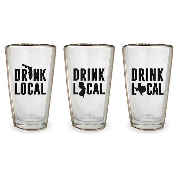 Alternate image 1 for Wild Eye Designs® Drink Local Pint Glass Collection