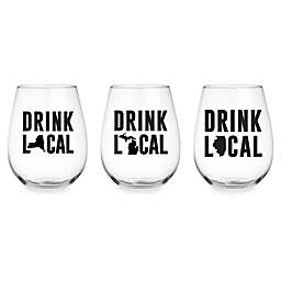 "Wild Eye Designs® ""Drink Local"" Stemless Wine Glass Collection"