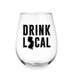 "Wild Eye Designs® ""Drink Local"" New Jersey Stemless Wine Glass"