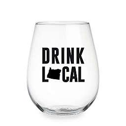 "Wild Eye Designs® ""Drink Local"" Pennsylvania Stemless Wine Glass"