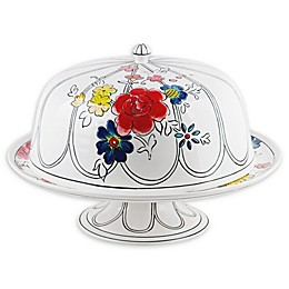 Home Essentials & Beyond Molly Hatch Flower Patch Cake Stand with Dome