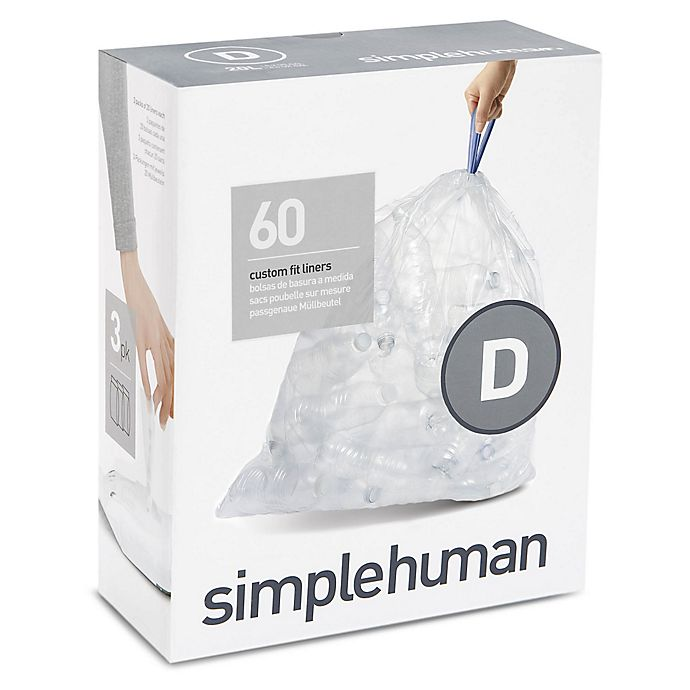 Alternate image 1 for simplehuman® Code D 60-Count 20-Liter Custom Fit Clear Recycling Liners