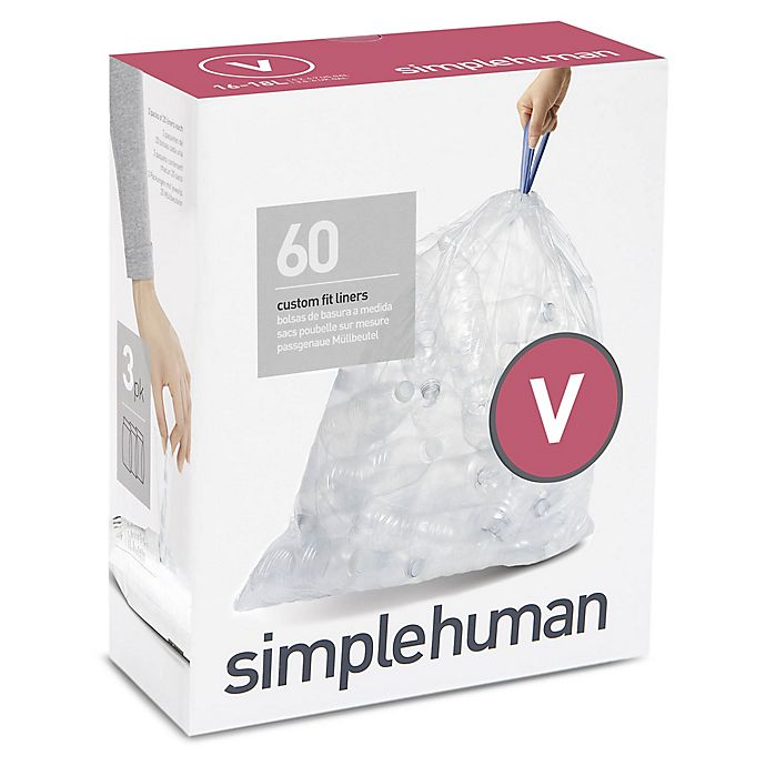 Alternate image 1 for simplehuman® Code V 60-Count 16-18-Liter Custom Fit Clear Recycling Liners