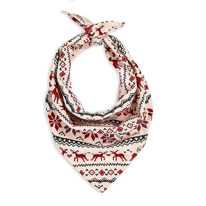Alternate image 1 for Burt's Bees Baby® Dashing Deer Fair Isle Dog Bandana in Red/Ivory