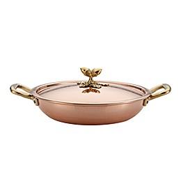 Ruffoni Historia Décor 11-Inch Handmade Copper Paella Pan with Lid