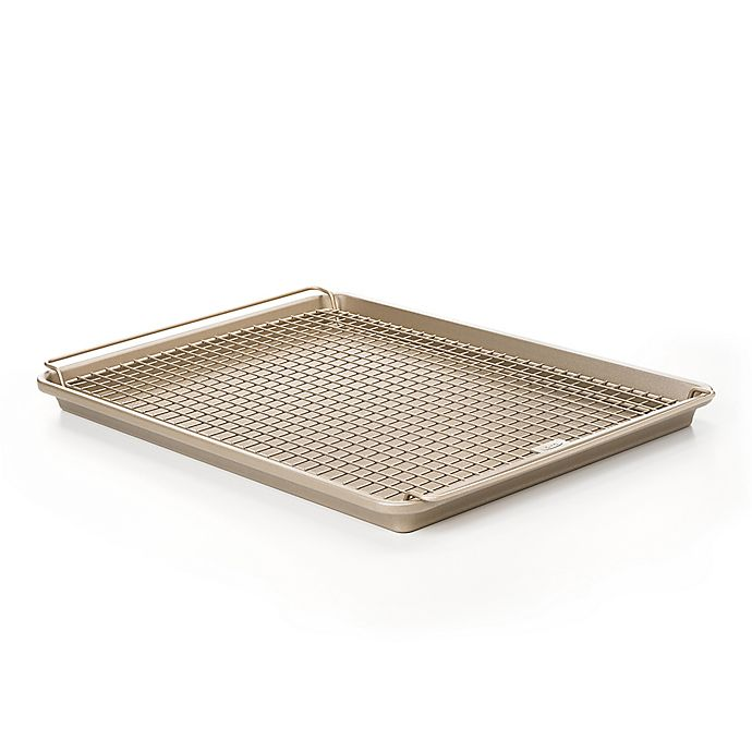 Alternate image 1 for OXO Good Grips® 2-Piece Nonstick Half Sheet Pan and Cooling Rack Set