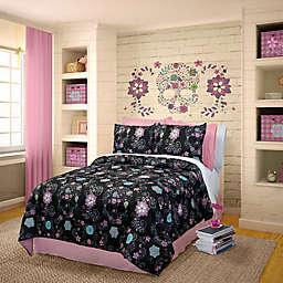 Veratex Flower Skulls Reversible Comforter Set