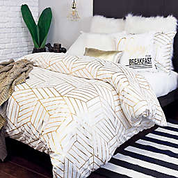 Alamode Home Aurelian Twin Duvet Cover Set in White/Gold