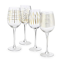 Home Essentials & Beyond Medallion Wine Glasses in Gold (Set of 4)