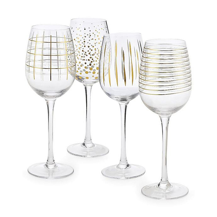 Alternate image 1 for Home Essentials & Beyond Medallion Wine Glasses in Gold (Set of 4)