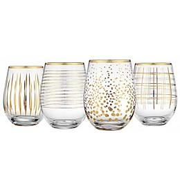 Home Essentials & Beyond Medallion Stemless Wine Glasses in Gold (Set of 4)