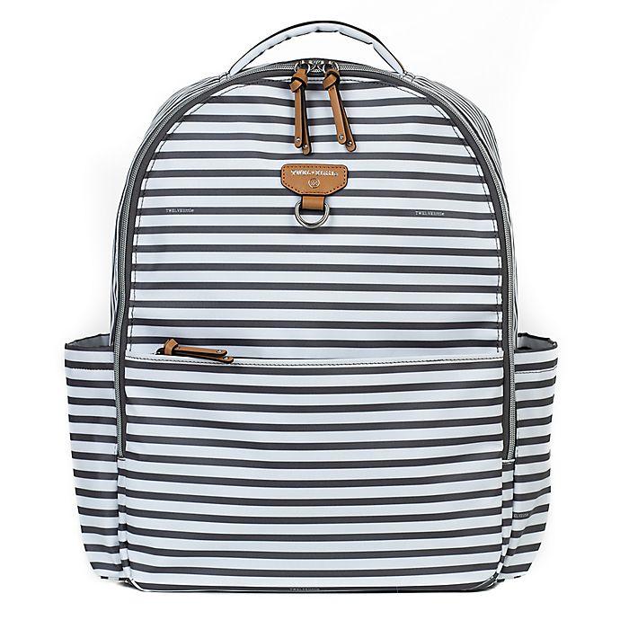 Alternate image 1 for TWELVElittle On-the-Go Backpack Diaper Bag in Grey/White Stripe
