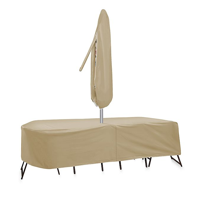 Alternate image 1 for Protective Covers by Adco Oval/Rectangle 108-Inch x 80-Inch Table and Chair Cover with Umbrella Hole
