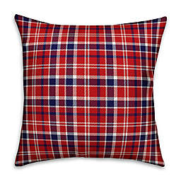 18-Inch Plaid Square Throw Pillow in Red
