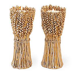 Boston International Harvest Wheat Tea Light Holder in Gold/Copper