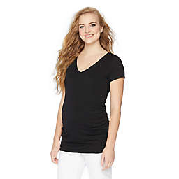 Motherhood® Maternity XL Side Ruched Short Sleeve Maternity Top in Black