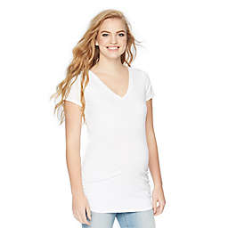 Motherhood® Maternity Medium Side Ruched Short Sleeve Maternity Top in White