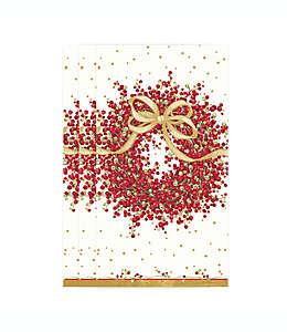 Toallas desechables de papel de 3 capas Pepperberry Branches Caspari en rojo/blanco, 15 piezas