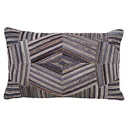 Lasercut Linen Lumbar Oblong Throw Pillow in Blue