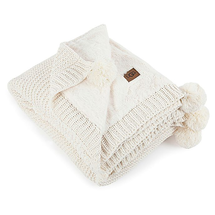 Ugg 174 Cameron Knit Reversible Throw Blanket In Snow Bed