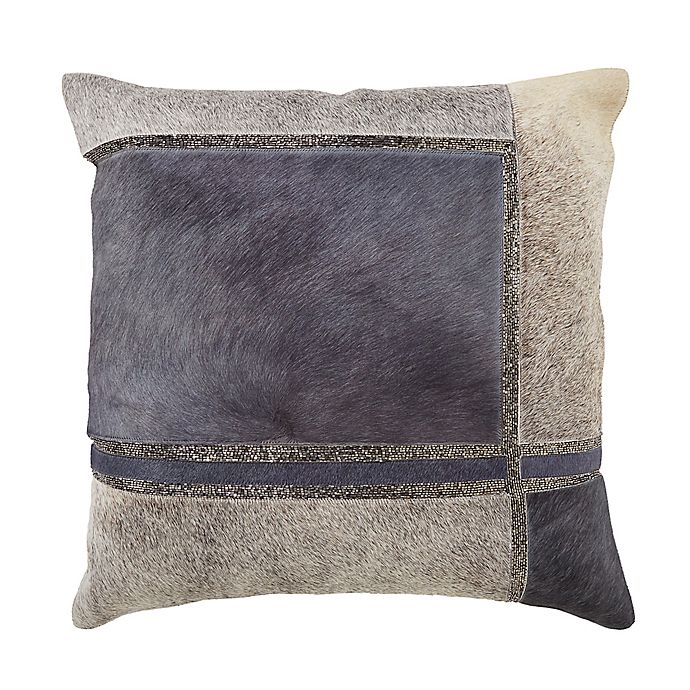 Alternate image 1 for Hide Squares Beaded Square Throw Pillow in Blue