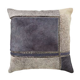 Hide Squares Beaded Square Throw Pillow in Blue
