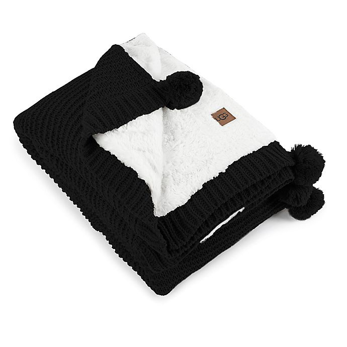 Alternate image 1 for UGG® Cameron Reversible Faux Fur Throw Blanket in Black