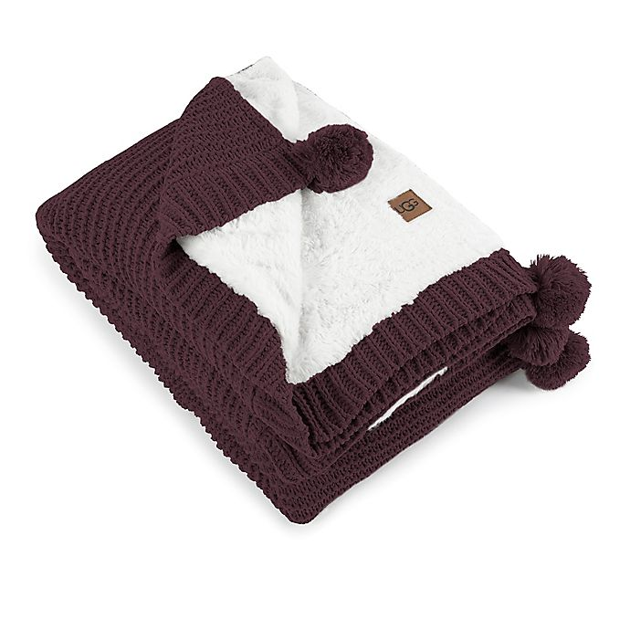 Alternate image 1 for UGG® Cameron Reversible Faux Fur Throw Blanket in Port