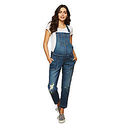 Motherhood Maternity® Indigo Blue Denim Maternity Overalls in Medium Wash