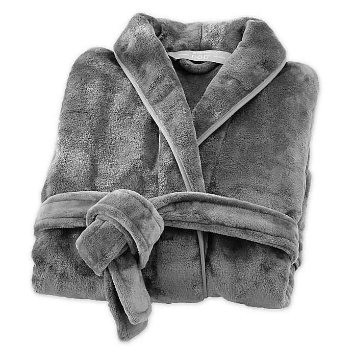 Alternate image 1 for Brookstone® n-a-p® Small/Medium Bathrobe in Dark Grey