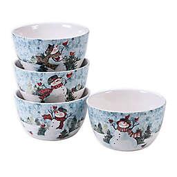 Certified International Watercolor Snowman Ice Cream Bowls (Set of 4)