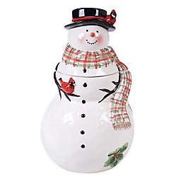 Certified International Watercolor Snowman Cookie Jar