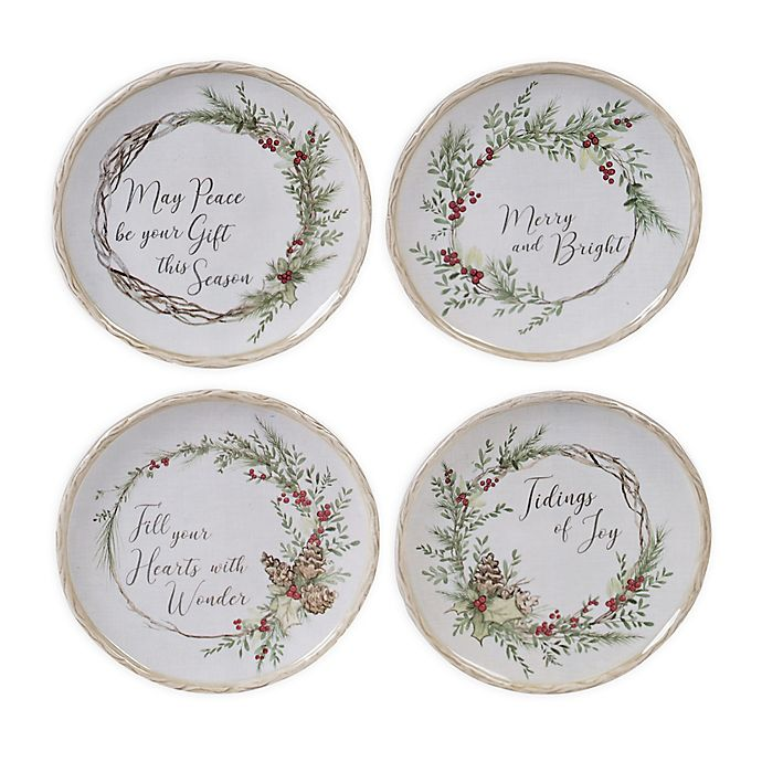 Alternate image 1 for Certified International Holly & Ivy Canape Plates (Set of 4)