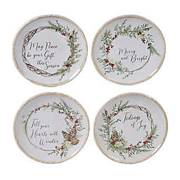 Certified International Holly and Ivy Canape Plates (Set of 4)