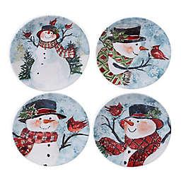 Certified International Watercolor Snowman Dessert Plates (Set of 4)