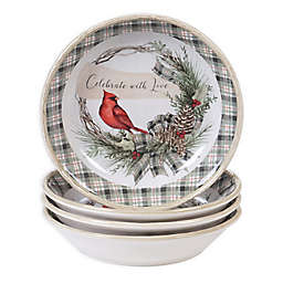 Certified International Holly and Ivy Pasta Bowls (Set of 4)