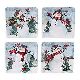 Certified International Watercolor Snowman Canape Plates (Set of 4)