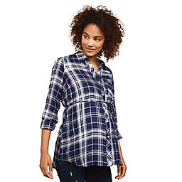 Motherhood Maternity® Button Front Convertible Sleeve Maternity Top in Navy Plaid