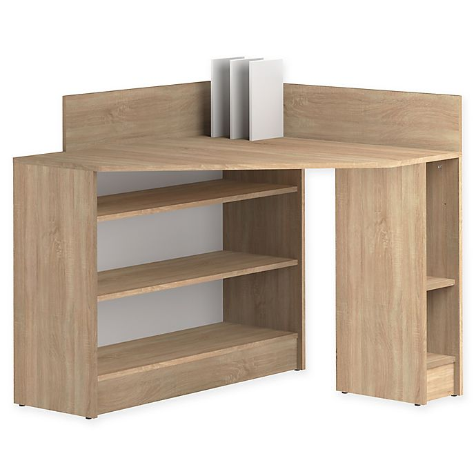 Alternate image 1 for Temahome® Corner Desk in White/Natural Oak