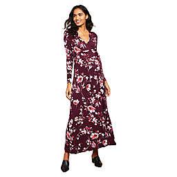 Motherhood Maternity® Floral Wrap Maxi Maternity Dress in Brugundy