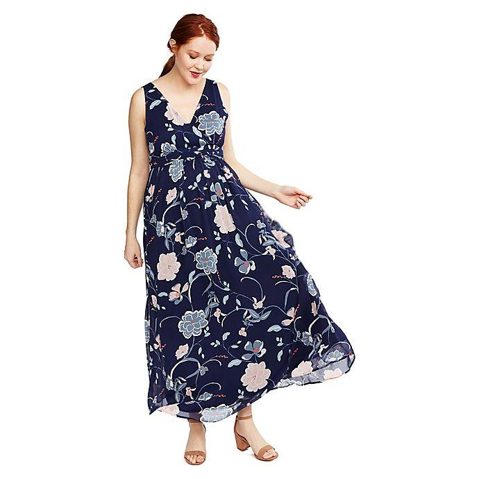 Alternate image 1 for Motherhood® Maternity Floral Chiffon Dress in Blue