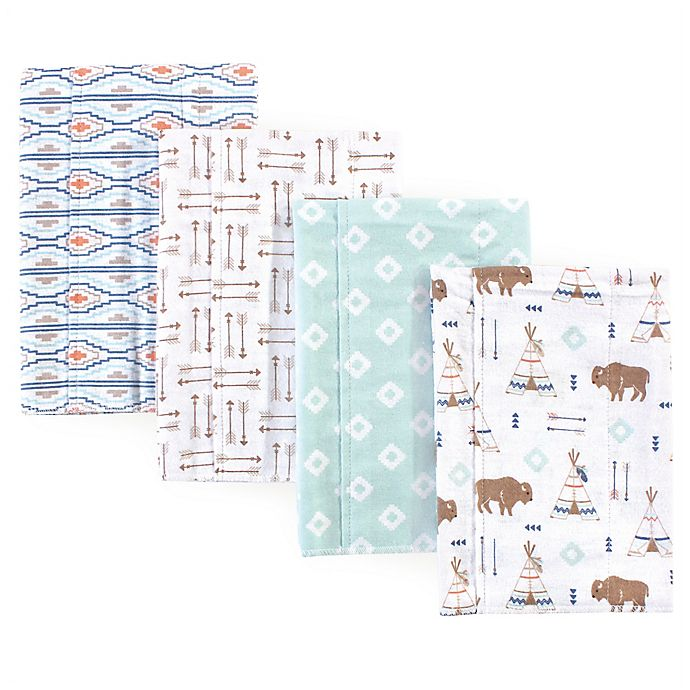 Alternate image 1 for Hudson Baby® 4-Pack Teepee Burp Cloth Set in Teal