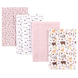 Hudson Baby® 4-Pack Woodland Burp Cloth Set in Pink