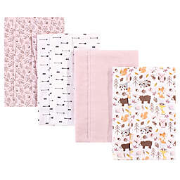 Hudson Baby® 4-Pack Woodland Burp Cloth Set in Pink