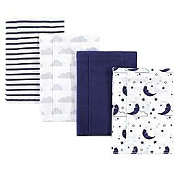 Hudson Baby® 4-Pack Moon Burp Cloth Set in Navy