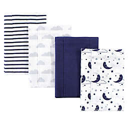 Hudson Baby® 4-Pack Moon Burp Cloth Set in Navy