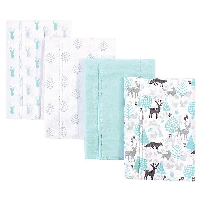 Alternate image 1 for Hudson Baby® 4-Pack Woodland Burp Cloth Set in Teal