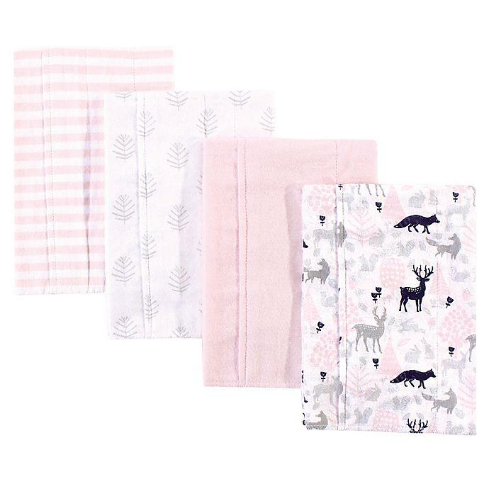 Alternate image 1 for Hudson Baby® 4-Pack Woodland Burp Cloth Set in Pink