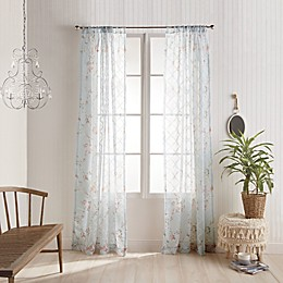 Kara Sheer Floral Rod Pocket Window Curtain Panel